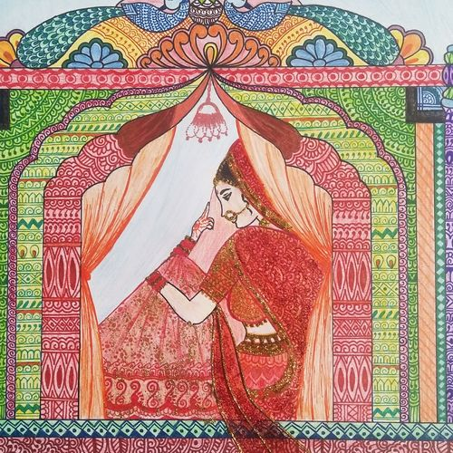 doli, 17 x 12 inch, vasudha  singh,17x12inch,ivory sheet,conceptual paintings,contemporary paintings,paintings for dining room,paintings for living room,paintings for bedroom,paintings for dining room,paintings for living room,paintings for bedroom,pen color,pencil color,ball point pen,paper,GAL02173433555