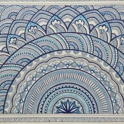 feeling blue , 17 x 12 inch, vasudha  singh,17x12inch,ivory sheet,paintings,abstract paintings,modern art paintings,paintings for dining room,paintings for living room,paintings for office,pen color,ball point pen,paper,GAL02173433558