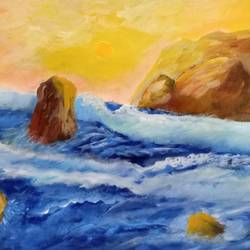 seascape with rocks and waves, 11 x 8 inch, reema pereira,11x8inch,canvas,nature paintings | scenery paintings,paintings for dining room,paintings for living room,paintings for bedroom,paintings for office,acrylic color,oil color,GAL02172033559