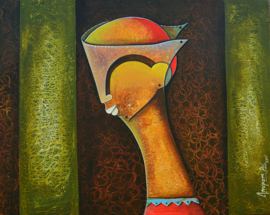 mask, 24 x 30 inch, anupam  pal,religious paintings,paintings for living room,vertical,canvas,acrylic color,24x30inch,GAL0823356
