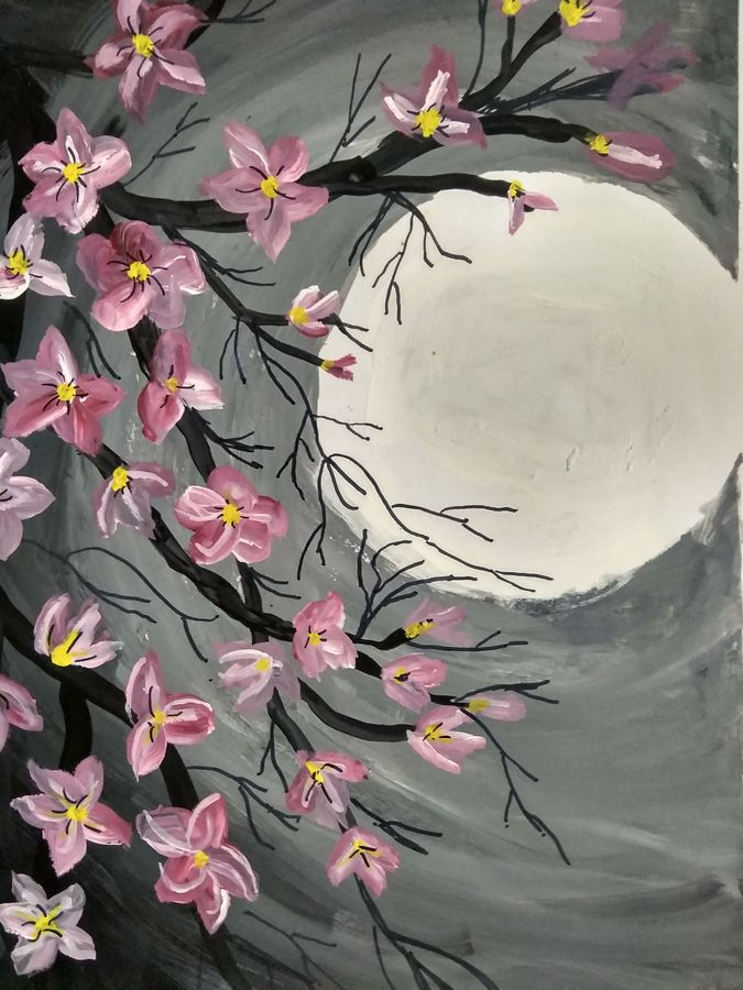 beautiful moon, 7 x 14 inch, janak  tank,7x14inch,thick paper,paintings,abstract paintings,flower paintings,modern art paintings,nature paintings | scenery paintings,illustration paintings,paintings for bedroom,paintings for office,paintings for hotel,acrylic color,enamel color,oil color,pastel color,poster color,watercolor,ball point pen,GAL02138233571