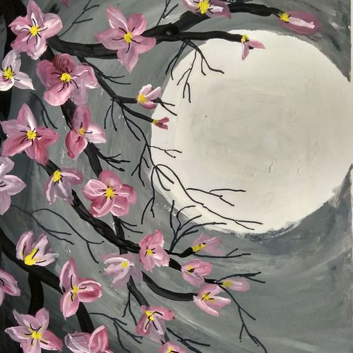 beautiful moon, 7 x 14 inch, janak  tank,7x14inch,thick paper,paintings,abstract paintings,flower paintings,modern art paintings,nature paintings   scenery paintings,illustration paintings,paintings for bedroom,paintings for office,paintings for hotel,acrylic color,enamel color,oil color,pastel color,poster color,watercolor,ball point pen,GAL02138233571