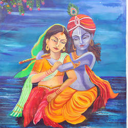 radha krishna, eternal love, 19 x 24 inch, rachita bhaumik ,19x24inch,canvas,paintings,religious paintings,paintings for bedroom,acrylic color,GAL02099633582