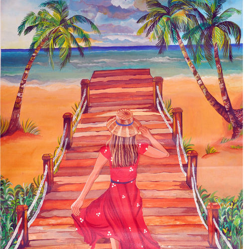 enjoying the ultimate beauty of the beach, 19 x 24 inch, rachita bhaumik ,19x24inch,canvas,paintings,nature paintings | scenery paintings,paintings for living room,acrylic color,GAL02099633583