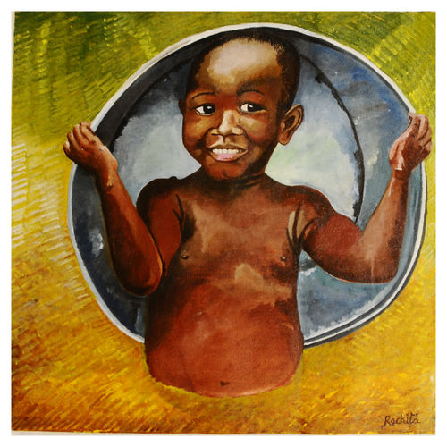happiness is state of mind - african kid, 14 x 14 inch, rachita bhaumik ,14x14inch,canvas,paintings,figurative paintings,acrylic color,GAL02099633586