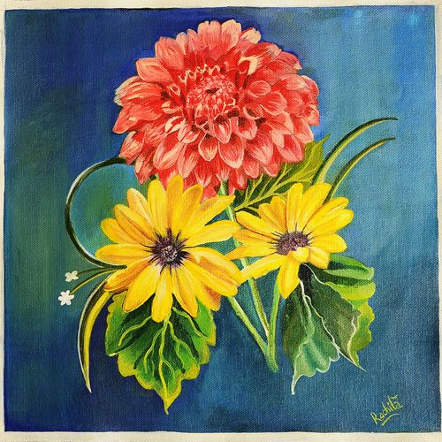 evening dahlia and daisies blooms on canvas, 11 x 11 inch, rachita bhaumik ,11x11inch,canvas,paintings,flower paintings,acrylic color,GAL02099633587