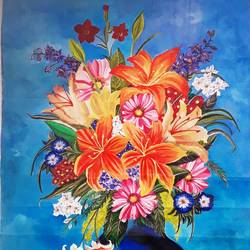 classic floral vase, 19 x 27 inch, rachita bhaumik ,19x27inch,canvas,flower paintings,acrylic color,GAL02099633588
