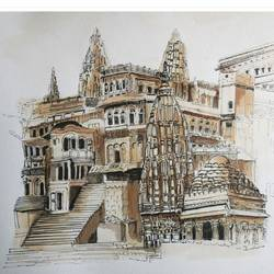 varanasi in pen and water colour, 12 x 9 inch, vishala prasad,12x9inch,brustro watercolor paper,paintings,illustration paintings,paintings for living room,paintings for office,paintings for bathroom,paintings for hotel,paintings for school,pen color,GAL02123233589