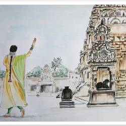 dancer in temple, water colour  painting, 10 x 8 inch, vishala prasad,10x8inch,cartridge paper,paintings,illustration paintings,paintings for dining room,paintings for living room,paintings for bedroom,paintings for office,paintings for kids room,paintings for hotel,paintings for school,paintings for hospital,pen color,watercolor,GAL02123233590