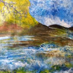 scenery, 18 x 12 inch, manoj kumar mishra,18x12inch,cloth,paintings,landscape paintings,nature paintings | scenery paintings,paintings for living room,paintings for office,paintings for hotel,paintings for school,paintings for hospital,acrylic color,fabric,oil color,GAL02111933591