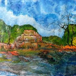 scenery, 17 x 12 inch, manoj kumar mishra,17x12inch,cloth,paintings,landscape paintings,nature paintings | scenery paintings,paintings for living room,paintings for office,paintings for hotel,paintings for school,paintings for hospital,acrylic color,fabric,oil color,GAL02111933593