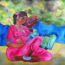 women from village, 20 x 22 inch, manoj kumar mishra,20x22inch,cloth,paintings,figurative paintings,portrait paintings,paintings for living room,paintings for hotel,paintings for school,acrylic color,fabric,GAL02111933596