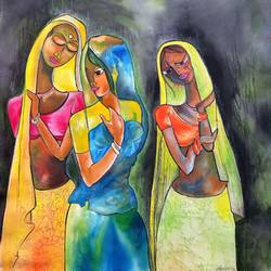 dancing women, 20 x 22 inch, manoj kumar mishra,20x22inch,cloth,paintings,figurative paintings,portrait paintings,paintings for dining room,paintings for living room,paintings for office,paintings for hospital,acrylic color,fabric,GAL02111933600