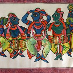 dancing krishna, 24 x 15 inch, manoj kumar mishra,24x15inch,cloth,paintings,figurative paintings,landscape paintings,religious paintings,paintings for dining room,paintings for living room,paintings for bedroom,paintings for office,paintings for kids room,paintings for hotel,acrylic color,fabric,GAL02111933601