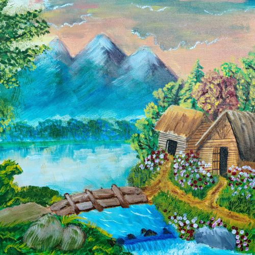 river bank cottage, 16 x 20 inch, ayushi maheshwari,16x20inch,canvas,paintings,flower paintings,landscape paintings,modern art paintings,nature paintings | scenery paintings,acrylic color,GAL02179433608