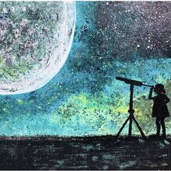 gazing at the star filled sky, 20 x 24 inch, mindscream artsy,20x24inch,canvas,paintings,paintings for living room,acrylic color,GAL02179133609