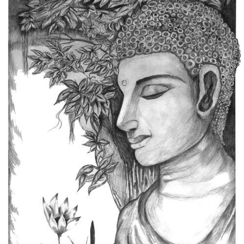 buddha sketching, 11 x 21 inch, ravi borade,abstract expressionist drawings,paintings for living room,buddha drawings,thick paper,graphite pencil,11x21inch,GAL012433361