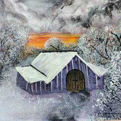 barn in snow, 12 x 16 inch, ayushi maheshwari,12x16inch,canvas,landscape paintings,nature paintings | scenery paintings,acrylic color,GAL02179433610