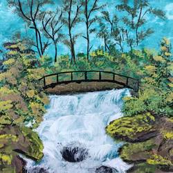waterfall in forest, 12 x 16 inch, ayushi maheshwari,12x16inch,canvas board,paintings,wildlife paintings,landscape paintings,still life paintings,nature paintings | scenery paintings,acrylic color,GAL02179433612