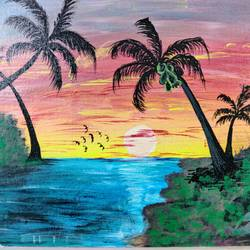 sunset seascape, 12 x 16 inch, ayushi maheshwari,12x16inch,canvas board,paintings,landscape paintings,nature paintings | scenery paintings,acrylic color,GAL02179433613