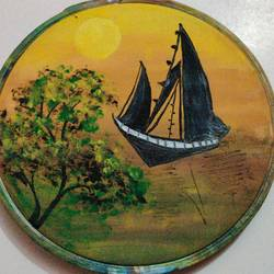 boat , 4 x 4 inch, ayushi maheshwari,4x4inch,cloth,paintings,landscape paintings,nature paintings   scenery paintings,acrylic color,GAL02179433619