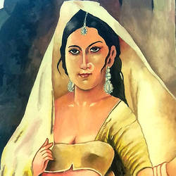 lady traditional, 14 x 21 inch, ravi borade,portrait paintings,paintings for living room,thick paper,acrylic color,14x21inch,GAL012433362