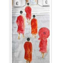 monks , 6 x 11 inch, vishala prasad,6x11inch,handmade paper,paintings,abstract expressionism paintings,paintings for living room,paintings for office,paintings for kids room,paintings for hotel,watercolor,GAL02123233626
