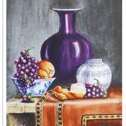 still life in watercolour, 8 x 9 inch, vishala prasad,8x9inch,drawing paper,paintings,still life paintings,paintings for dining room,paintings for living room,paintings for bedroom,paintings for office,paintings for kids room,paintings for hotel,paintings for kitchen,paintings for school,paintings for hospital,watercolor,GAL02123233628