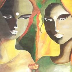 womens, 14 x 21 inch, ravi borade,modern art paintings,paintings for living room,thick paper,oil,14x21inch,GAL012433363