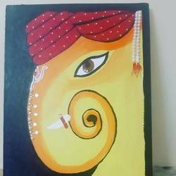 ganesha, 12 x 14 inch, dr pallavee kalra soni,12x14inch,canvas,religious paintings,paintings for living room,paintings for living room,acrylic color,GAL02184033632