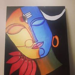 ardhnareeshwar, 12 x 14 inch, dr pallavee kalra soni,12x14inch,canvas,paintings,religious paintings,acrylic color,GAL02184033633