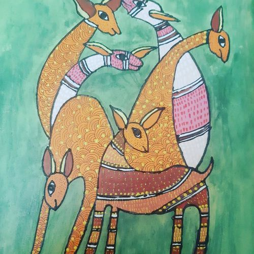 gond, 12 x 14 inch, dr pallavee kalra soni,12x14inch,canvas,gond painting.,paintings for living room,paintings for living room,acrylic color,GAL02184033634