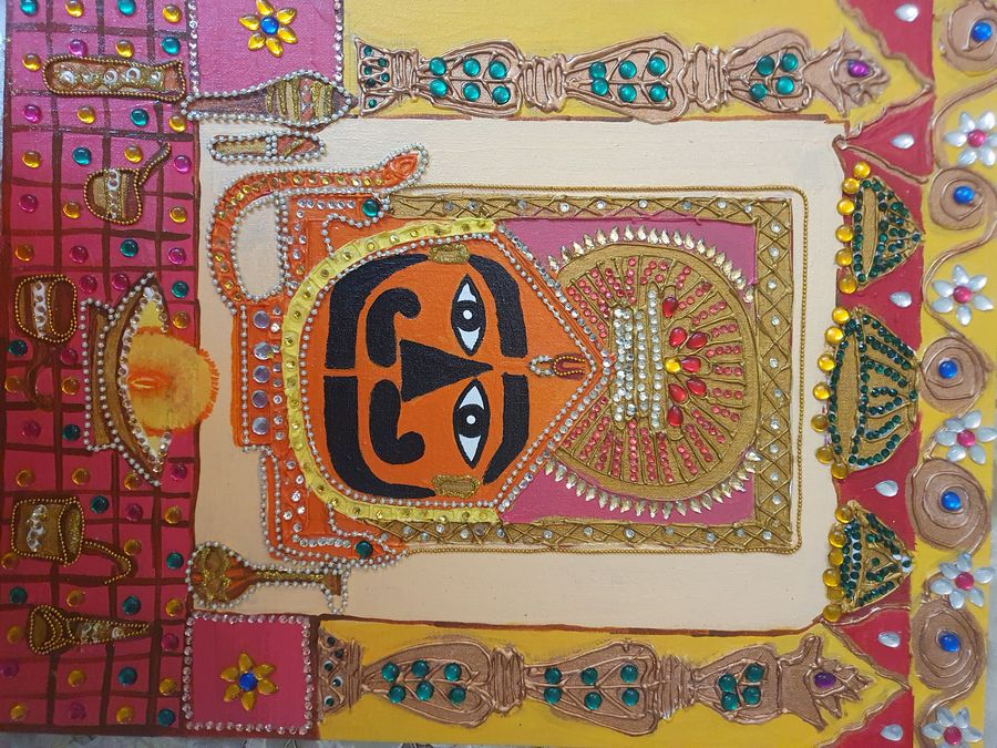 salasar balaji, 14 x 18 inch, dr pallavee kalra soni,14x18inch,canvas,paintings,religious paintings,paintings for living room,paintings for office,acrylic color,GAL02184033635