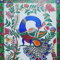 kalamkari, 12 x 14 inch, dr pallavee kalra soni,12x14inch,canvas,paintings,kalamkari painting,paintings for dining room,paintings for living room,paintings for office,acrylic color,GAL02184033636