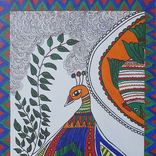 kalamkari, 12 x 14 inch, dr pallavee kalra soni,12x14inch,canvas,paintings,kalamkari painting,paintings for dining room,paintings for living room,paintings for bedroom,paintings for office,acrylic color,GAL02184033639