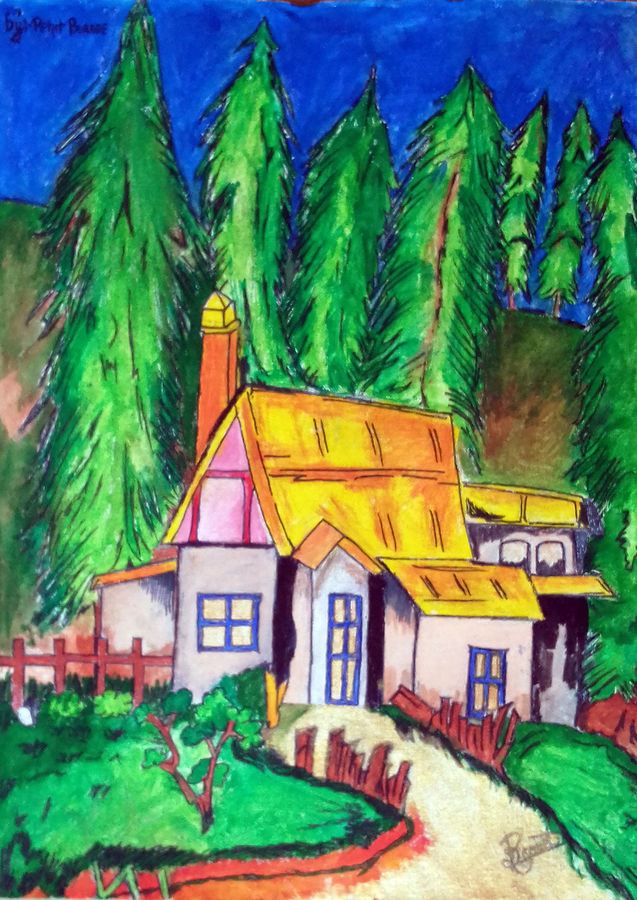landscape -1, 12 x 21 inch, ravi borade,landscape paintings,paintings for living room,nature paintings,canvas,acrylic color,12x21inch,GAL012433364Nature,environment,Beauty,scenery,greenery,house,trees,colorful