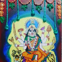 mata rani, 12 x 14 inch, pallavee kalra,12x14inch,canvas,paintings,religious paintings,paintings for living room,paintings for office,paintings for hospital,acrylic color,GAL02184033641