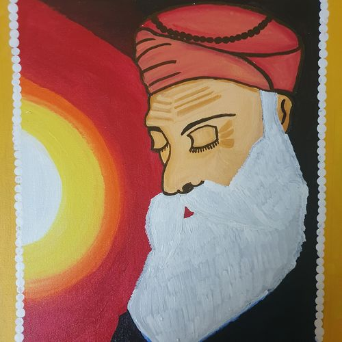 gurunanak dev ji, 14 x 18 inch, pallavee kalra,14x18inch,canvas,paintings,religious paintings,paintings for dining room,paintings for living room,paintings for office,acrylic color,GAL02184033642