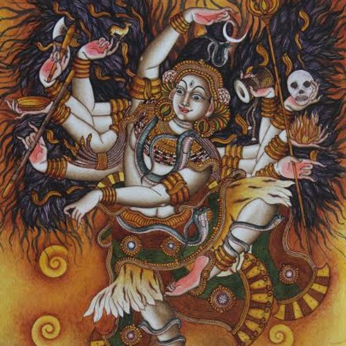 dancing siva, 24 x 36 inch, manoj  p p,religious paintings,paintings for living room,canvas,acrylic color,24x36inch,GAL07483365