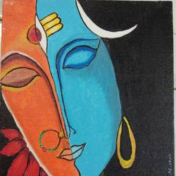 shankar parvati, 8 x 10 inch, akshata  chavan ,8x10inch,canvas,paintings,religious paintings,lord shiva paintings,paintings for living room,paintings for living room,acrylic color,GAL02186133653