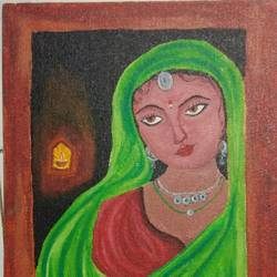 indian lady , 9 x 12 inch, akshata  chavan ,9x12inch,canvas,paintings,folk art paintings,portrait paintings,paintings for dining room,paintings for bedroom,paintings for office,paintings for hotel,paintings for kitchen,paintings for school,paintings for hospital,acrylic color,GAL02186133659
