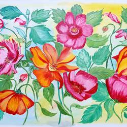 colourful flowers and vines, 33 x 20 inch, padmini abrol,33x20inch,canvas,paintings,flower paintings,modern art paintings,still life paintings,nature paintings | scenery paintings,paintings for dining room,paintings for living room,paintings for bedroom,paintings for office,paintings for bathroom,paintings for kids room,paintings for hotel,paintings for kitchen,paintings for school,paintings for hospital,oil color,GAL0314933663