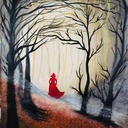 lil red riding hood, 12 x 16 inch, lisa serene,12x16inch,canvas,paintings,landscape paintings,modern art paintings,conceptual paintings,nature paintings | scenery paintings,abstract expressionism paintings,acrylic color,GAL01951233664
