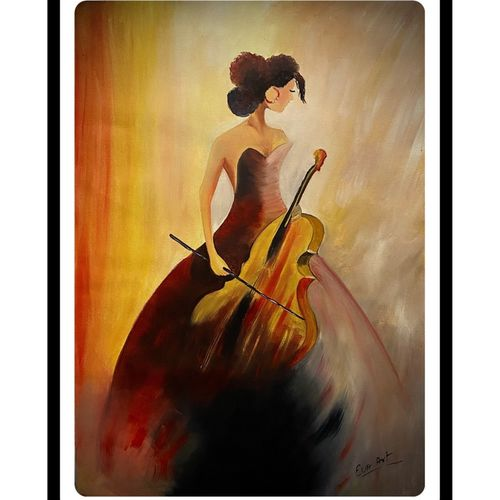 lady with violin, 20 x 28 inch, rennie eva  lall,20x28inch,canvas,paintings,figurative paintings,paintings for dining room,paintings for living room,paintings for bedroom,paintings for office,paintings for hotel,paintings for kitchen,oil color,GAL02165933669