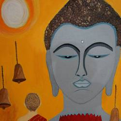 buddha n monk, 14 x 18 inch, shweta singh,buddha paintings,paintings for living room,canvas,acrylic color,14x18inch,religious,peace,meditation,meditating,gautam,goutam,buddha,grey,yellow,orange,bells,monks,GAL012423367