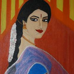 traditionally dressed woman, 12 x 16 inch, shweta singh,portrait paintings,paintings for living room,canvas,acrylic color,12x16inch,GAL012423368