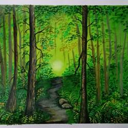 wood walks, 17 x 12 inch, lin taji,17x12inch,paper,paintings,landscape paintings,acrylic color,GAL02190033681