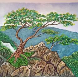 the view, 18 x 12 inch, lin taji,18x12inch,paper,paintings,landscape paintings,acrylic color,GAL02190033682