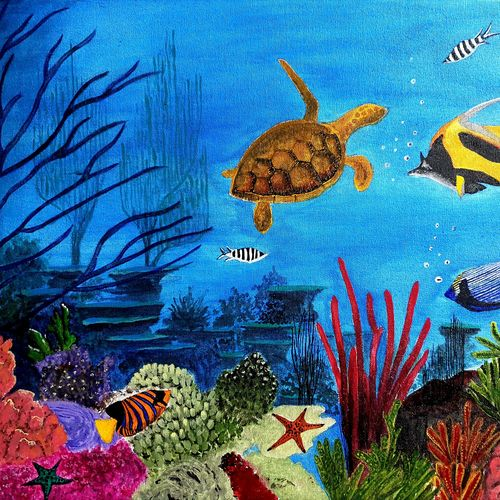 underwater life, 24 x 18 inch, lipsha sahoo,24x18inch,canvas board,paintings,nature paintings   scenery paintings,paintings for dining room,paintings for living room,paintings for bedroom,paintings for office,paintings for bathroom,paintings for kids room,paintings for hotel,paintings for school,acrylic color,GAL01763533683