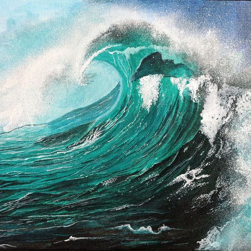 deep waves, 24 x 18 inch, lipsha sahoo,24x18inch,canvas board,paintings,nature paintings | scenery paintings,paintings for living room,paintings for bedroom,paintings for office,paintings for bathroom,paintings for kids room,paintings for hotel,paintings for school,acrylic color,GAL01763533684